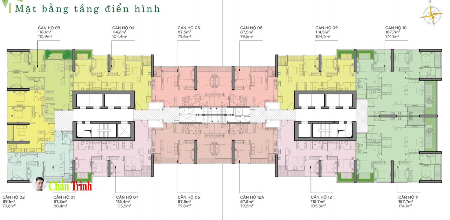 Bán căn hộ 2PN Vinhomes Central Park - Mặt bằng tòa P2