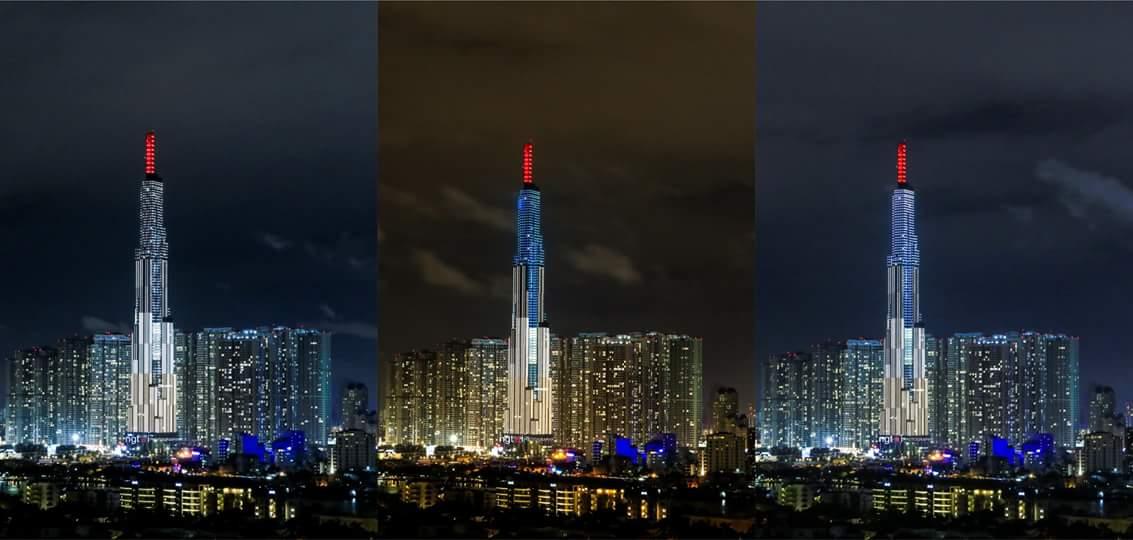 Vinhomes Central Park về đêm với biểu tượng Landmark 81, tòa tháp cao nhất VN và cao thứ 8 TG