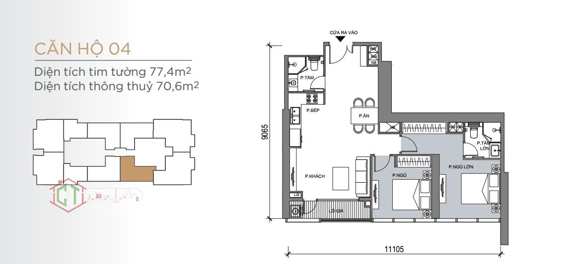 Thiết kế căn hộ 2PN Lx6-04