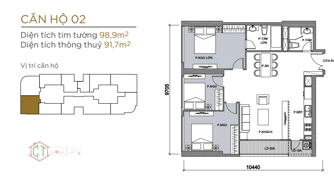 Thiết kế căn hộ AQUA 2 Vinhomes Golden River Ba SOn