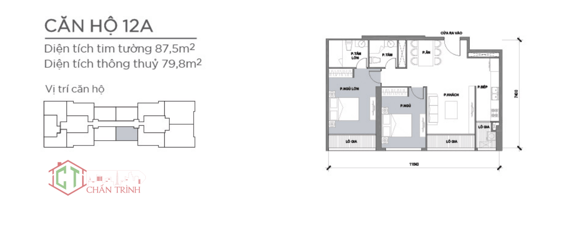 Layout bố trí căn hộ - diện tích bàn giao lớn hơn layout này