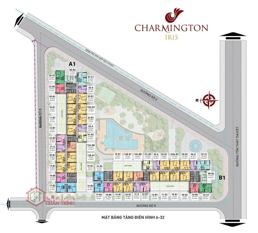 Mặt bằng điển hình dự án Charmington Iris Quận 4
