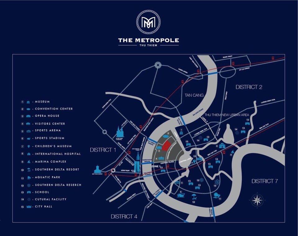 Vị trí dự án Metropole Thủ Thiêm Quận 2