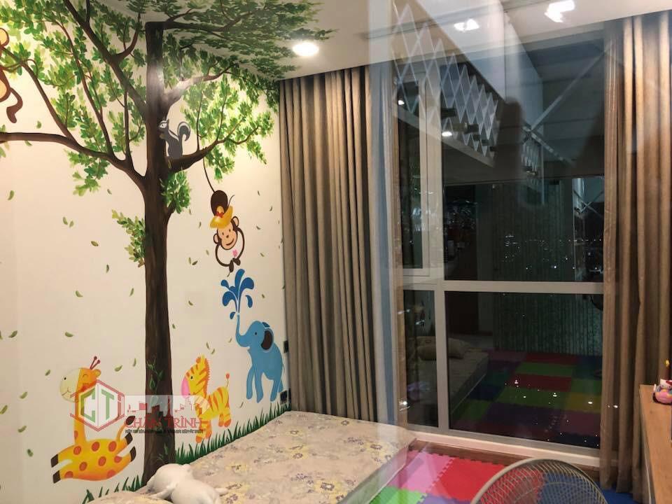 Không gian bố trí tại phòng ngủ 3 căn hộ 3 phòng ngủ Vinhomes Central Park - phòng hiện thiết kế cho bé nhỏ ở.