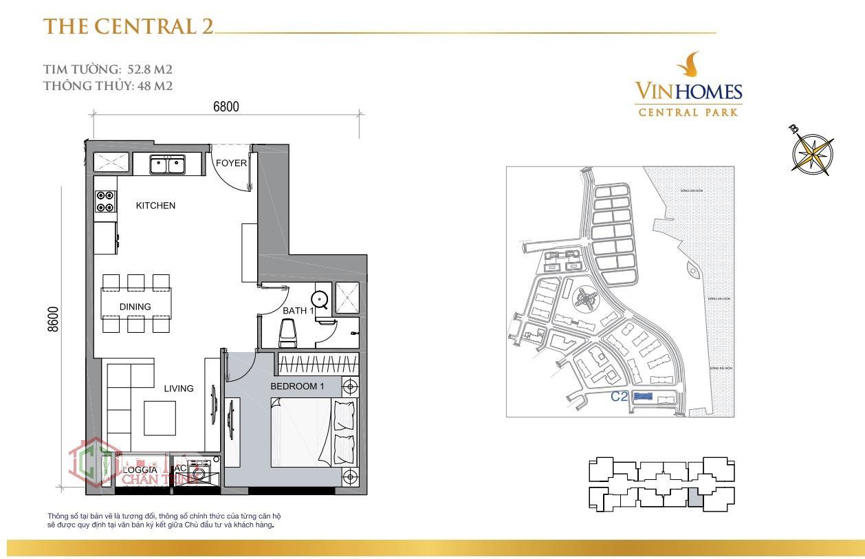 Layout bố trí của căn hộ 1 phòng ngủ nhà trống Central 2