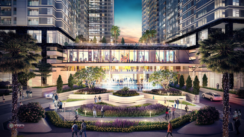 Khu thương mại từ tầng 1 đến tầng 5, Gym, hồ bơi và dịch vụ cư dân tầng 06.
