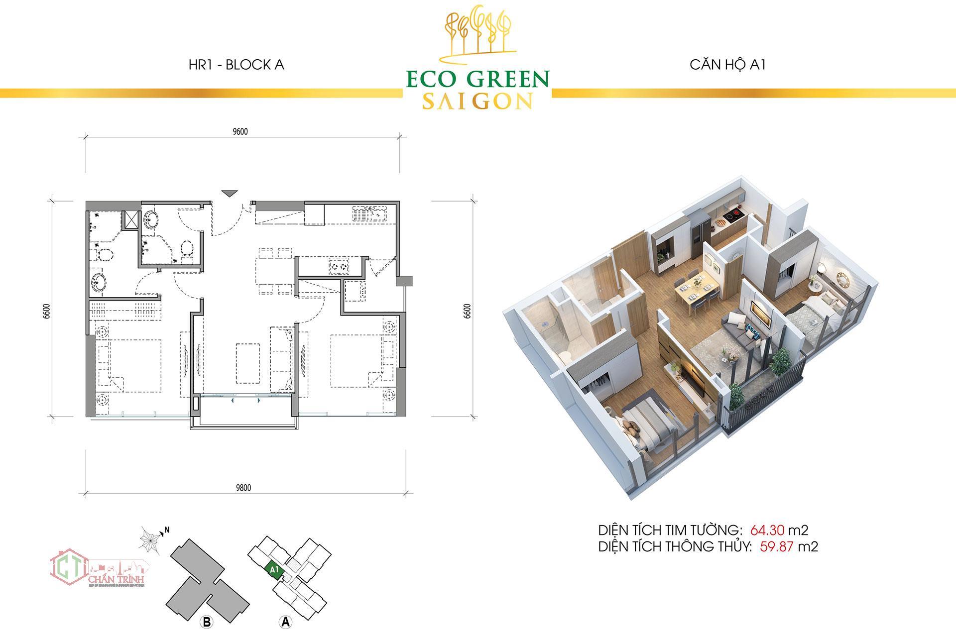 Thiết kế căn hộ 64m2 tại dự án Eco Green Quận 7