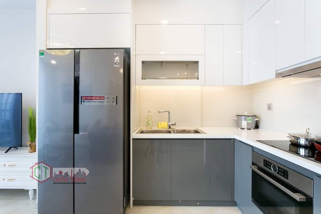 Hình chụp thực tế khu vực bếp căn hộ 2 phòng ngủ Vinhomes Golden River