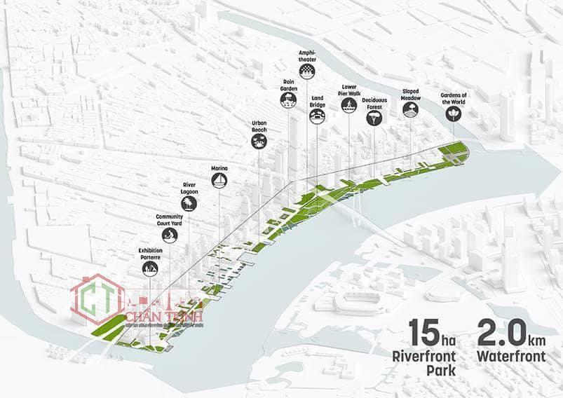 Phối cảnh bố trí khu đô thị trong tương lai tại cảng quận 4