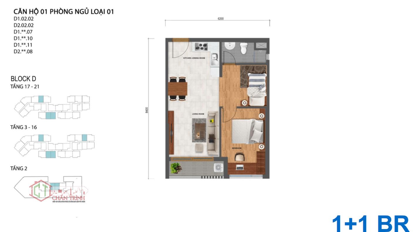 Thiết kế căn hộ Safira 1 phòng ngủ + 1 phòng đa năng nhỏ.