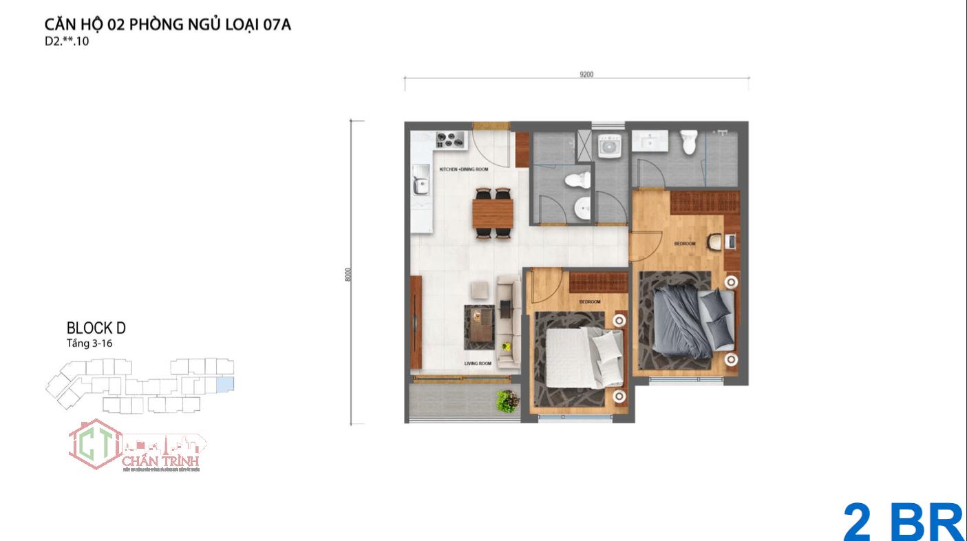 Thiết kế căn hộ Safira 2 phòng ngủ cực thông minh