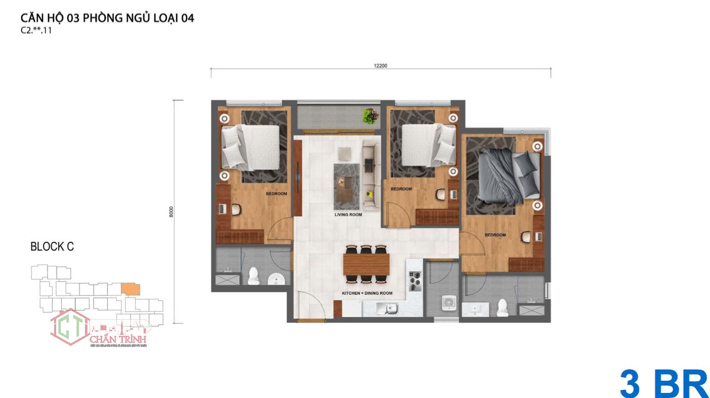 Thiết kế căn hộ Safira 3 phòng ngủ thoáng mát