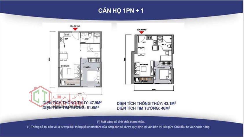 Thiết kế căn hộ 1 phòng ngủ và 1 phòng đa năng dự án Vincity.