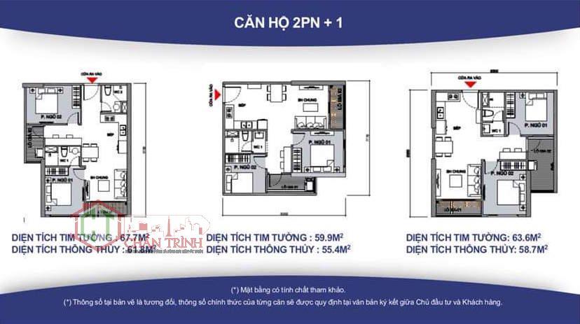 Thiết kế căn hộ 2 Phòng ngủ + 1 Phòng đa năng - mẫu thiết kế 2