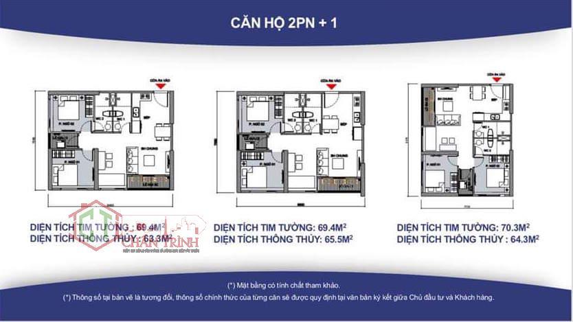 Thiết kế căn hộ 2 Phòng ngủ + 1 Phòng đa năng.