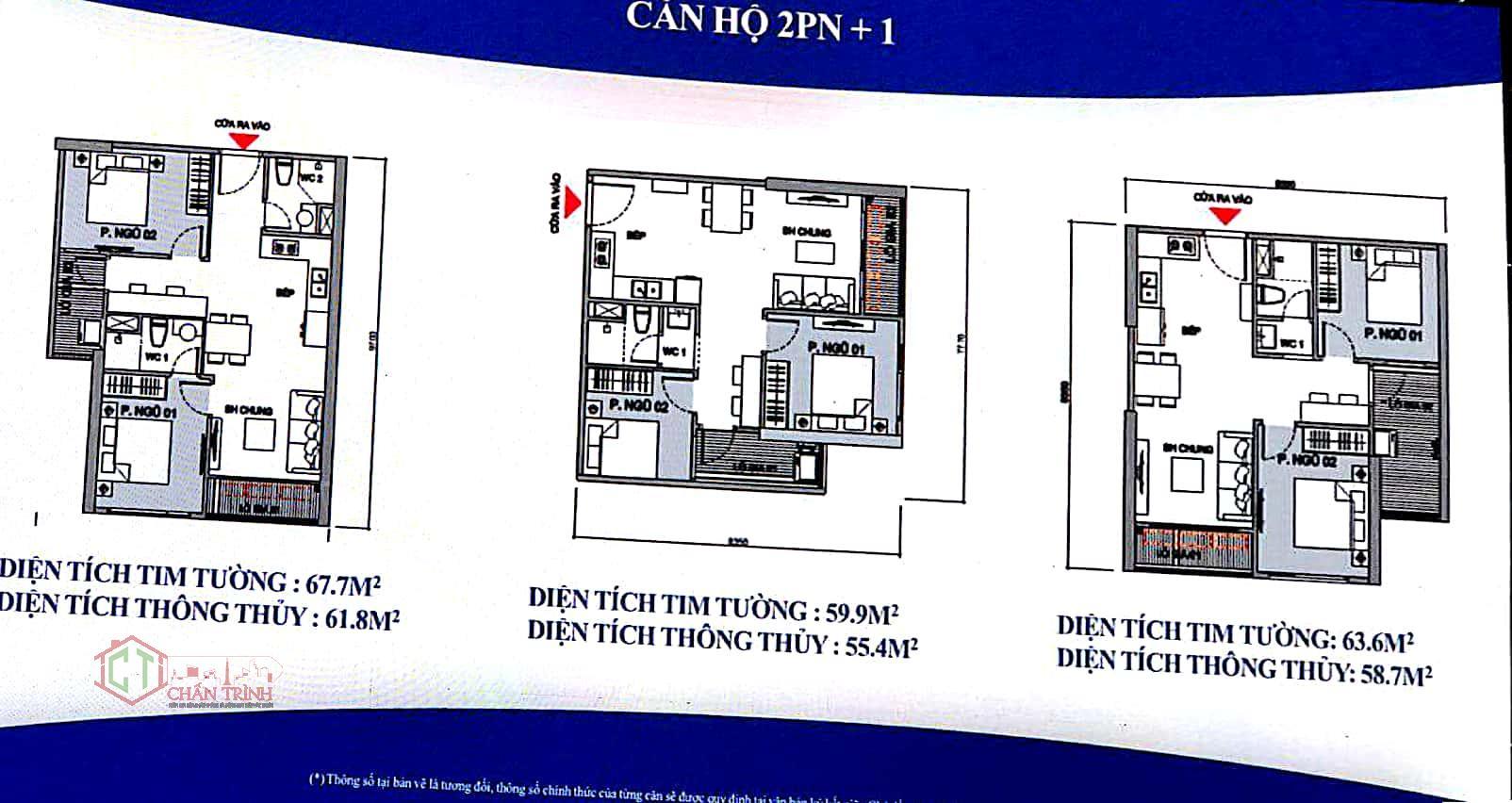 Thiết kế căn hộ 2 phòng ngủ + 1 dự án Vincity Ocean Park Gia Lâm