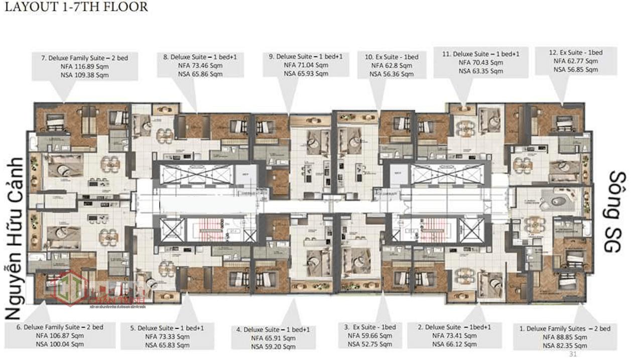 Mặt bằng tầng 1 đến tầng 7 căn hộThe Centennial Ba Son