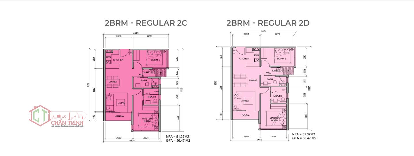 Mẫu thiết kế loại hình căn hộ 2 phòng ngủ dự án Metro Star Quận 9 - Loại 56m2