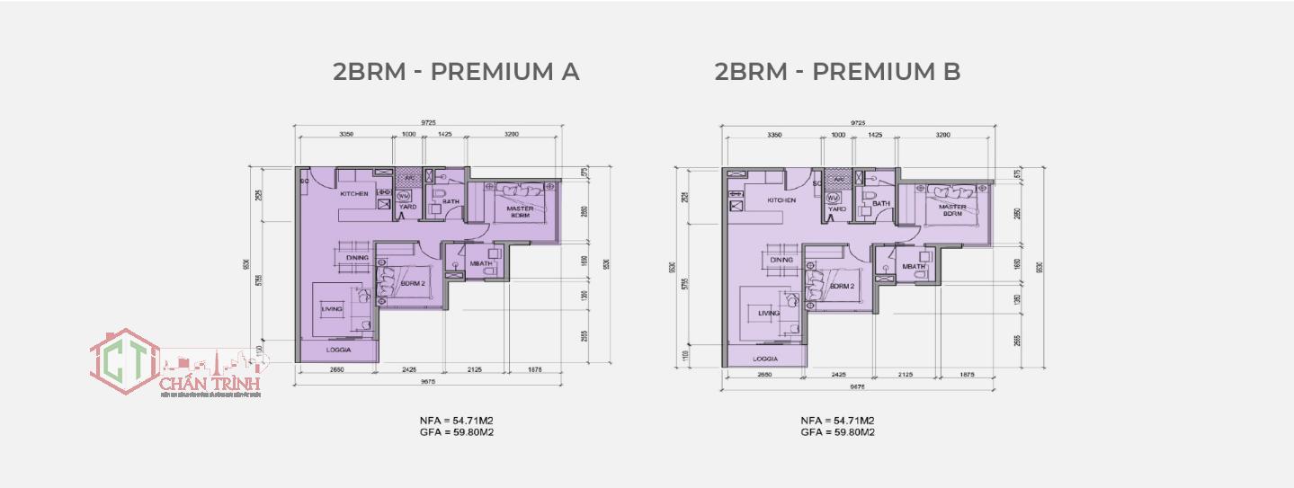 Mẫu thiết kế loại hình căn hộ 2 phòng ngủ dự án Metro Star Quận 9 - Loại 59m2
