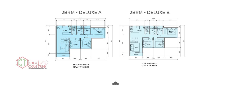 Mẫu thiết kế loại hình căn hộ 3 phòng ngủ dự án Metro Star Quận 9 - Loại 71m2