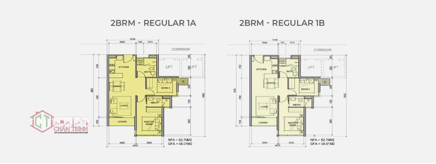 Mẫu thiết kế loại hình căn hộ 2 phòng ngủ dự án Metro Star Quận 9 loại 58m2