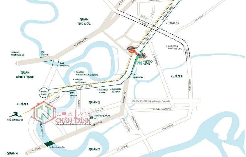 Vị trí Dự án Metro Star tọa lạc tại 360 Xa Lộ Hà Nội, Quận 9