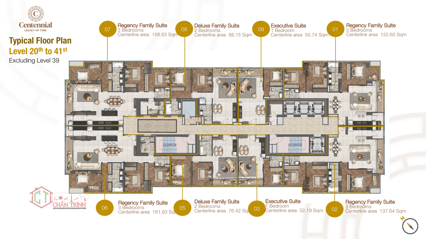 Mặt bằng căn hộ The Centennial tầng 20 đến tầng 41 & tầng 39.