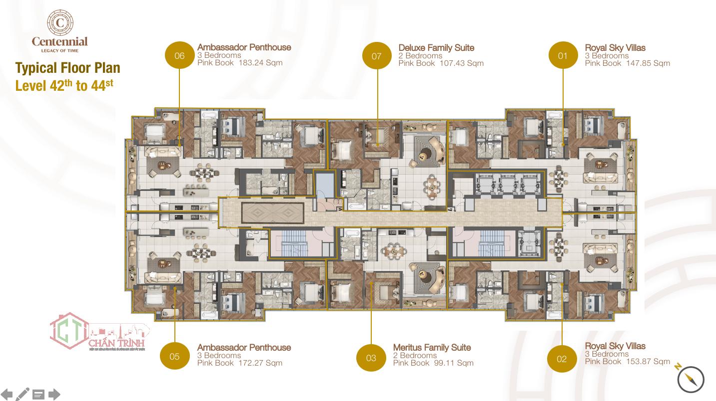 Mặt bằng căn hộ The Centennial tầng 42 đến tầng 44