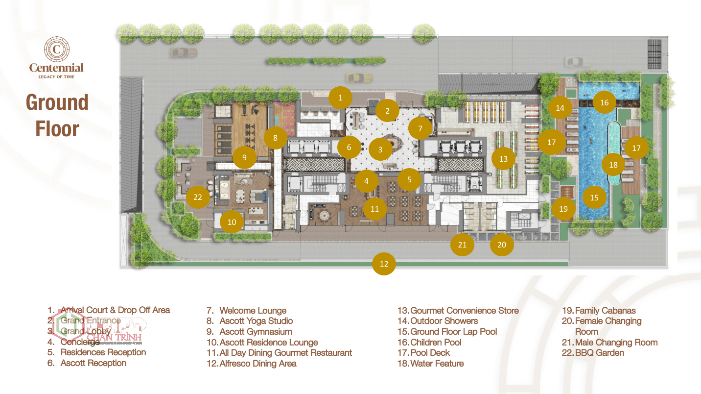 Thiết kế mặt bằng tầng trệt của tòa The Centennial Ba Son