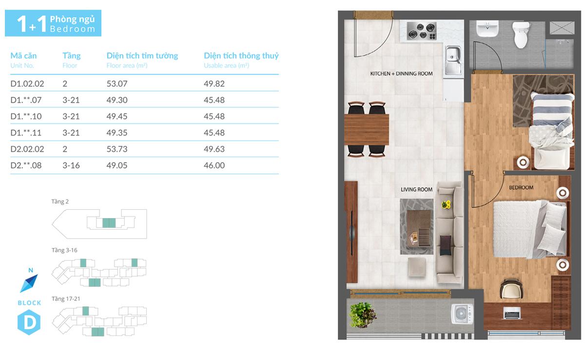 Thiết kế căn hộ D2-CH08 dự án Safira Khang Điền