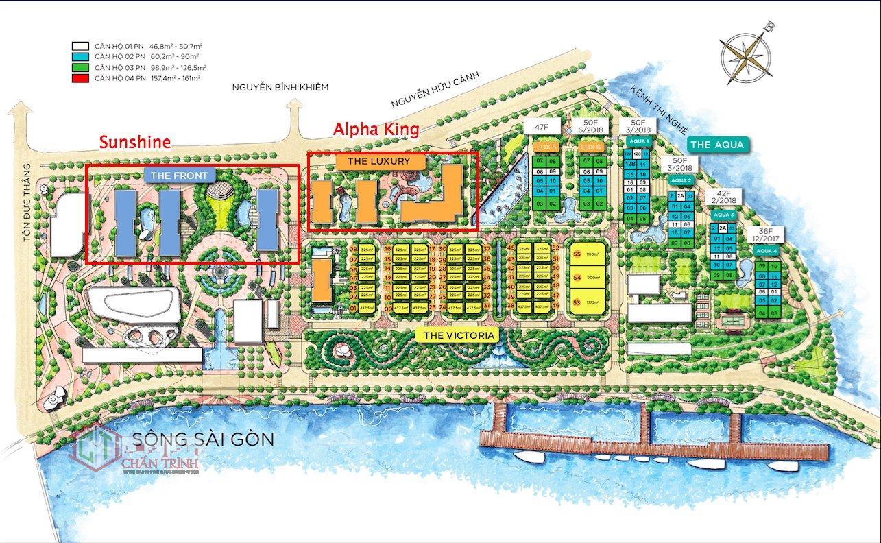 Phân khu của Sunshine Q1 minh họa- Vị trí tòa sẽ do CDT thiết kế