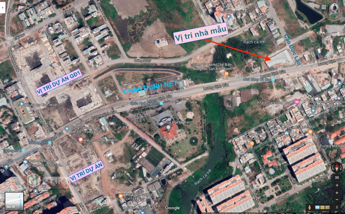 Vị trí nhà mẫu dự án Laimian City Quận 2