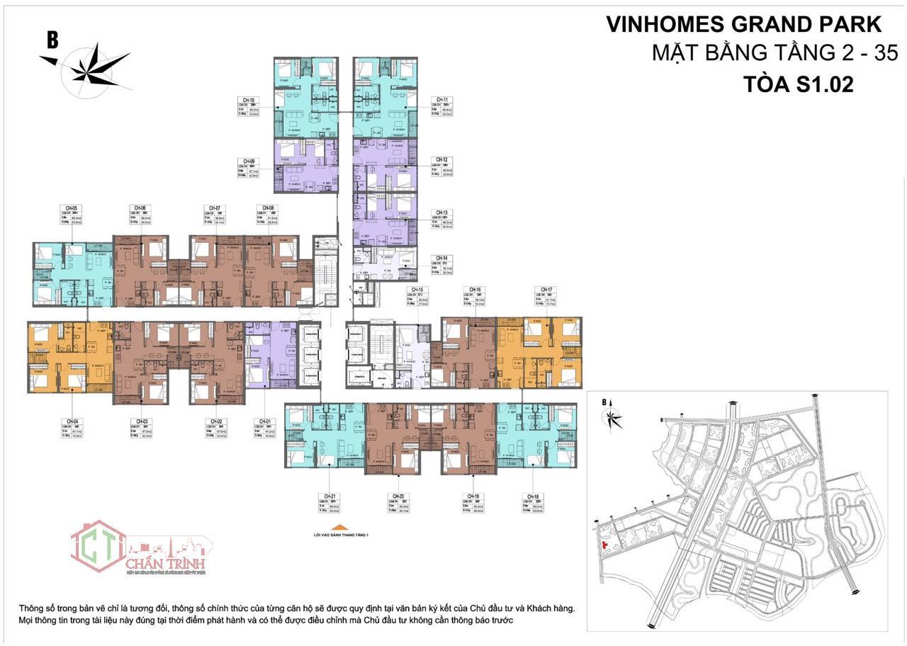 Mặt bằng tòa S1.02 - Vinhomes Grand Park Quận 9