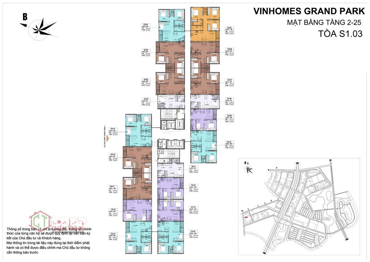 Mặt bằng tòa S1.03 - Vinhomes Grand Park Quận 9