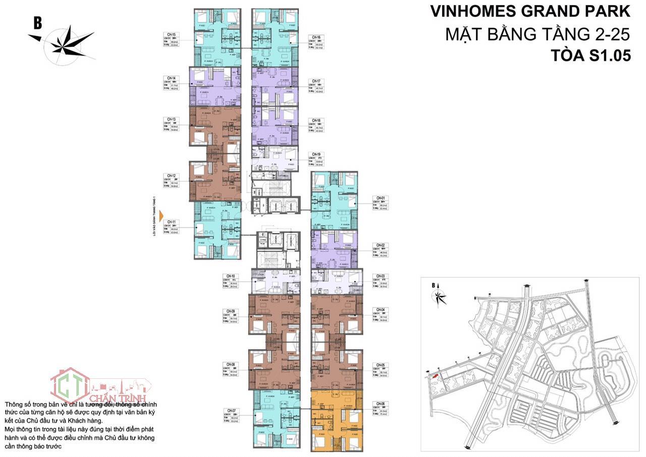 Mặt bằng tòa S1.05 - Vinhomes Grand Park Quận 9