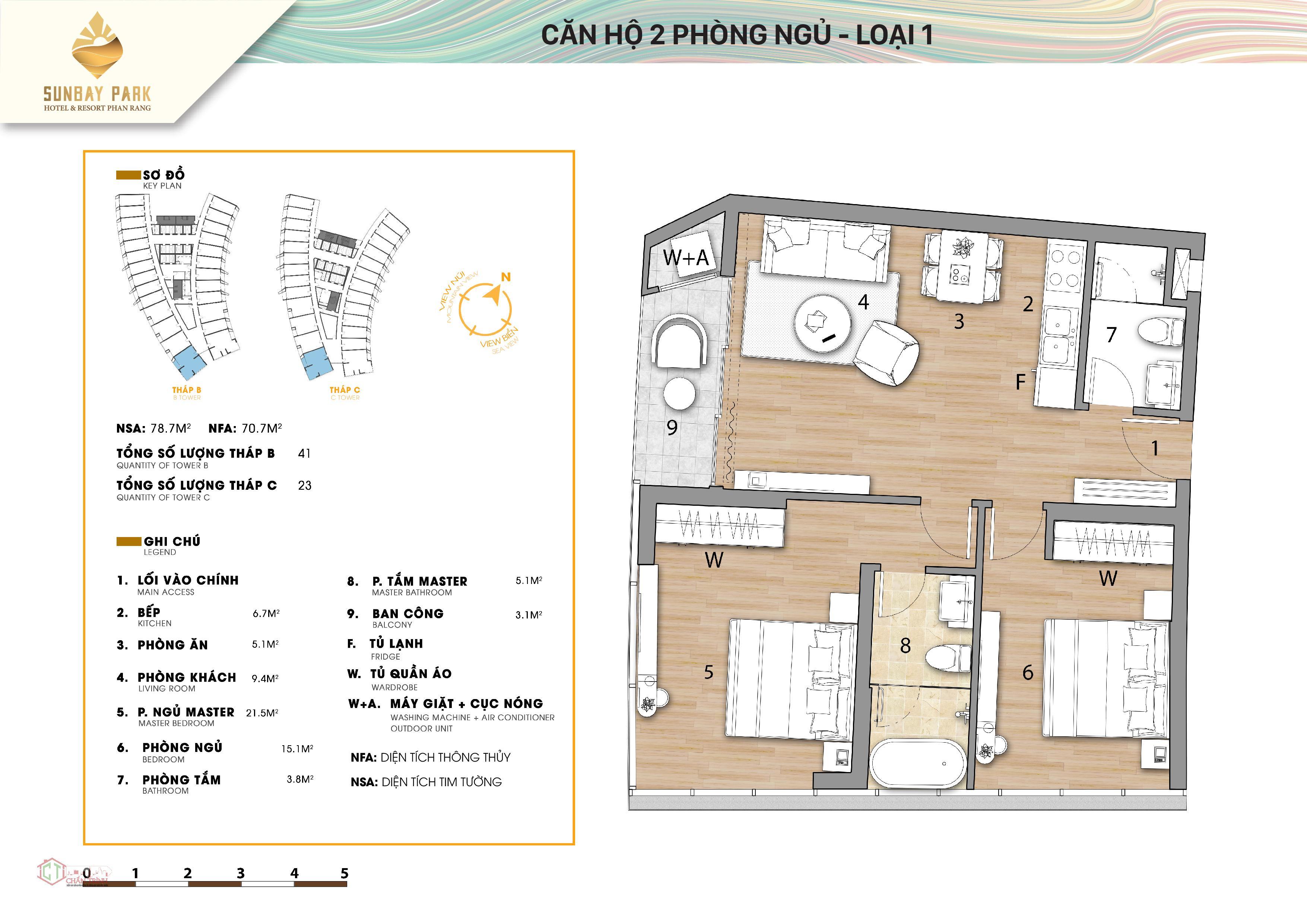 Thiết kế căn hộ 02 phòng loại 1 của 2 tháp B&C dự án Sunbay Park