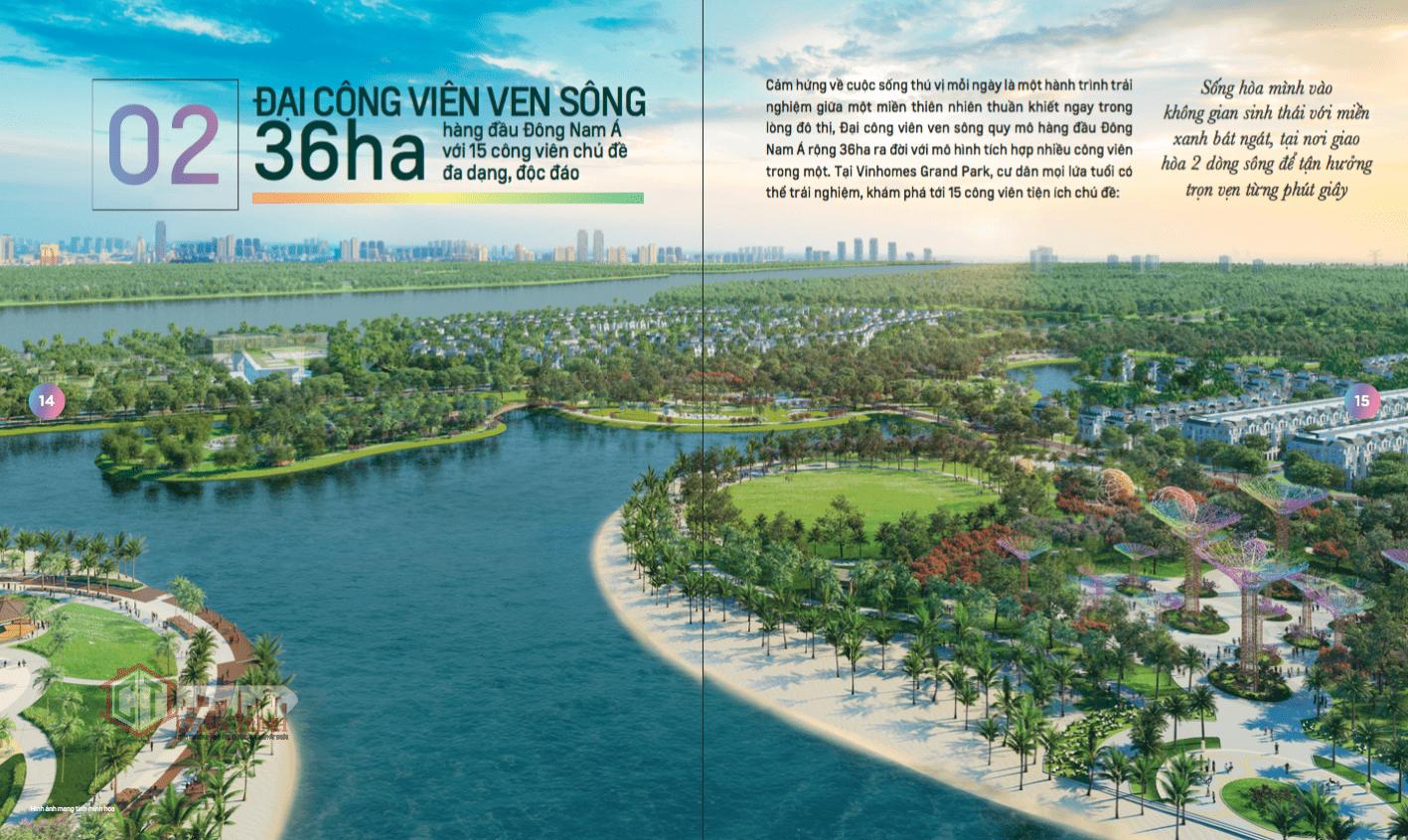 """""""Thành phố thông minh Công viên"""", Vinhomes Grand Park sở hữu quần thể Đại công viên phức hợp công viên ven sông quy mô hàng đầu Đông Nam Á với diện tích lên tới 36ha"""