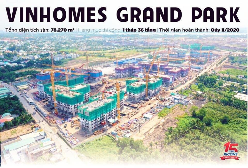 Cập nhật tiến độ xây dựng Vinhomes Grand Park mới nhất- Hình Ricons