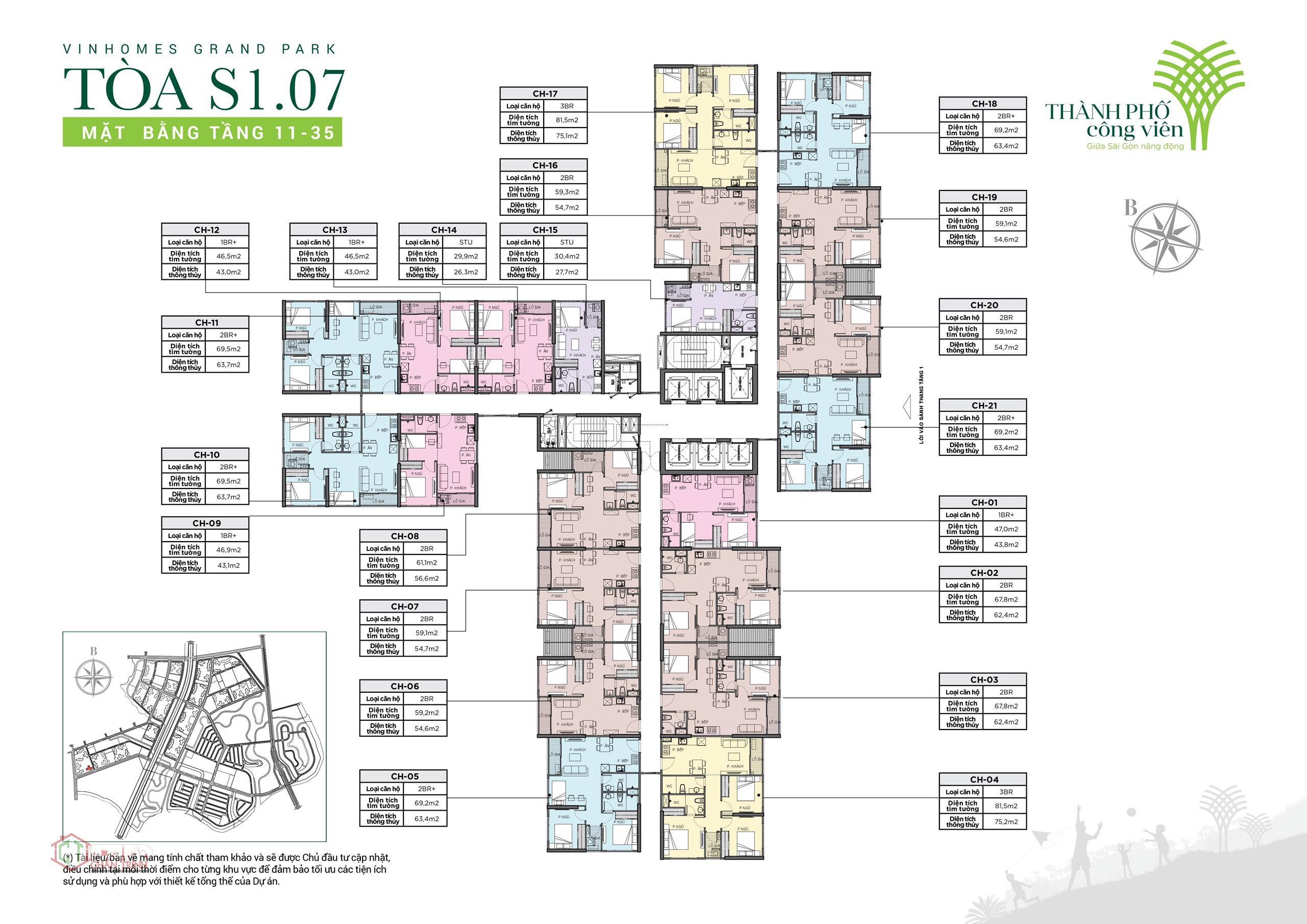 Tầng 11 đến 35 tòa S1.07 Vinhomes Grand Park.