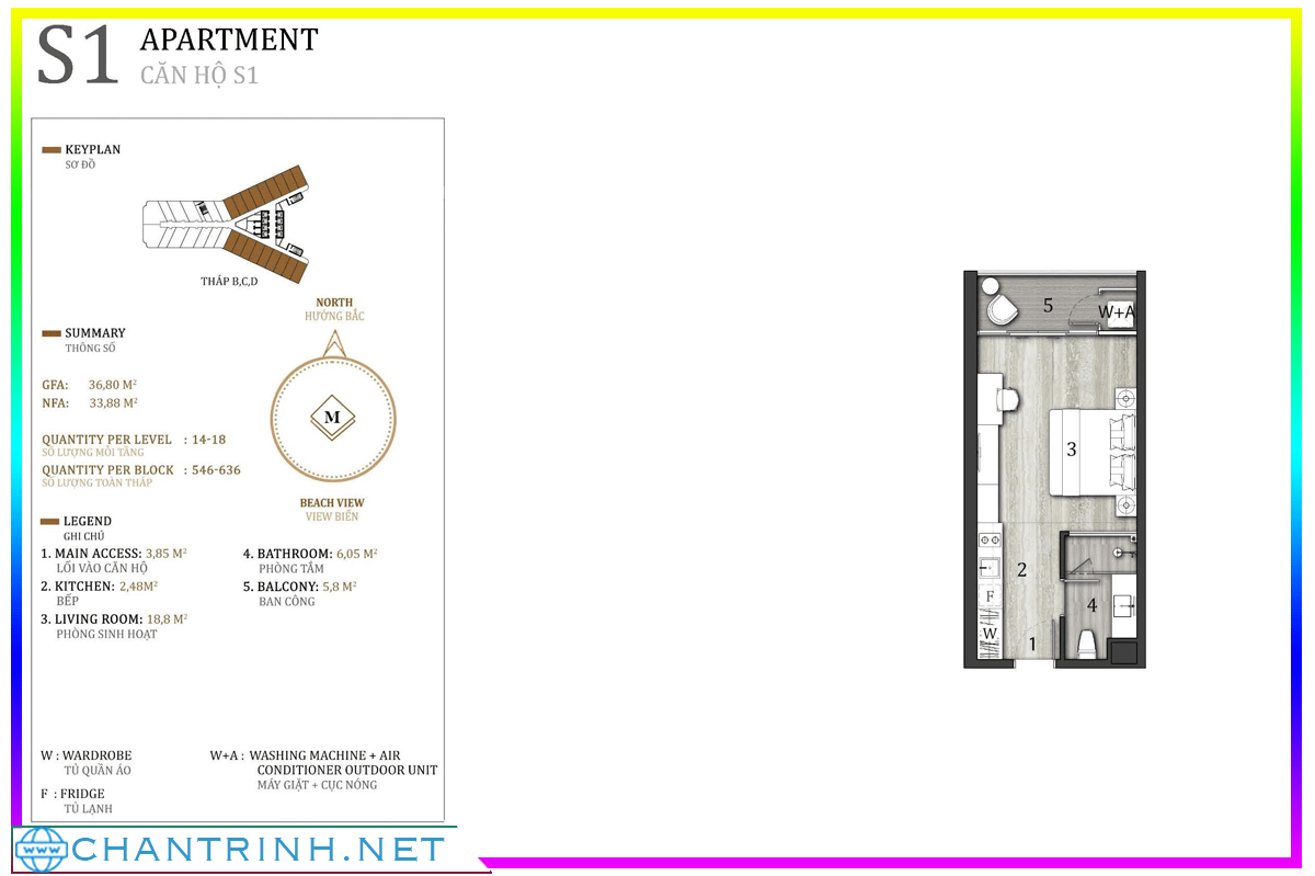 Mẫu thiết kế Studio của tòa B,C,D