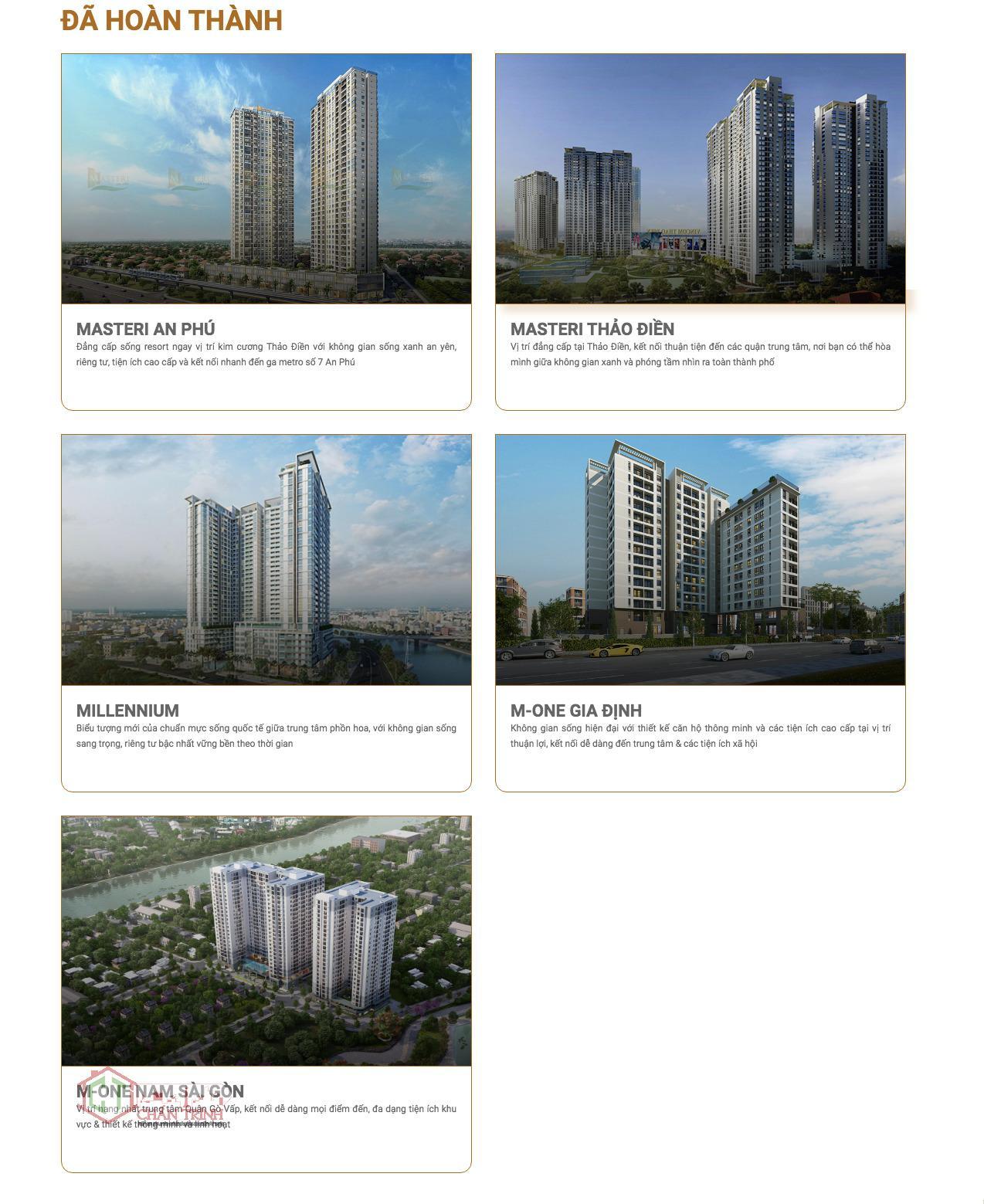 Những dự án Masterise Home đã phát triển.