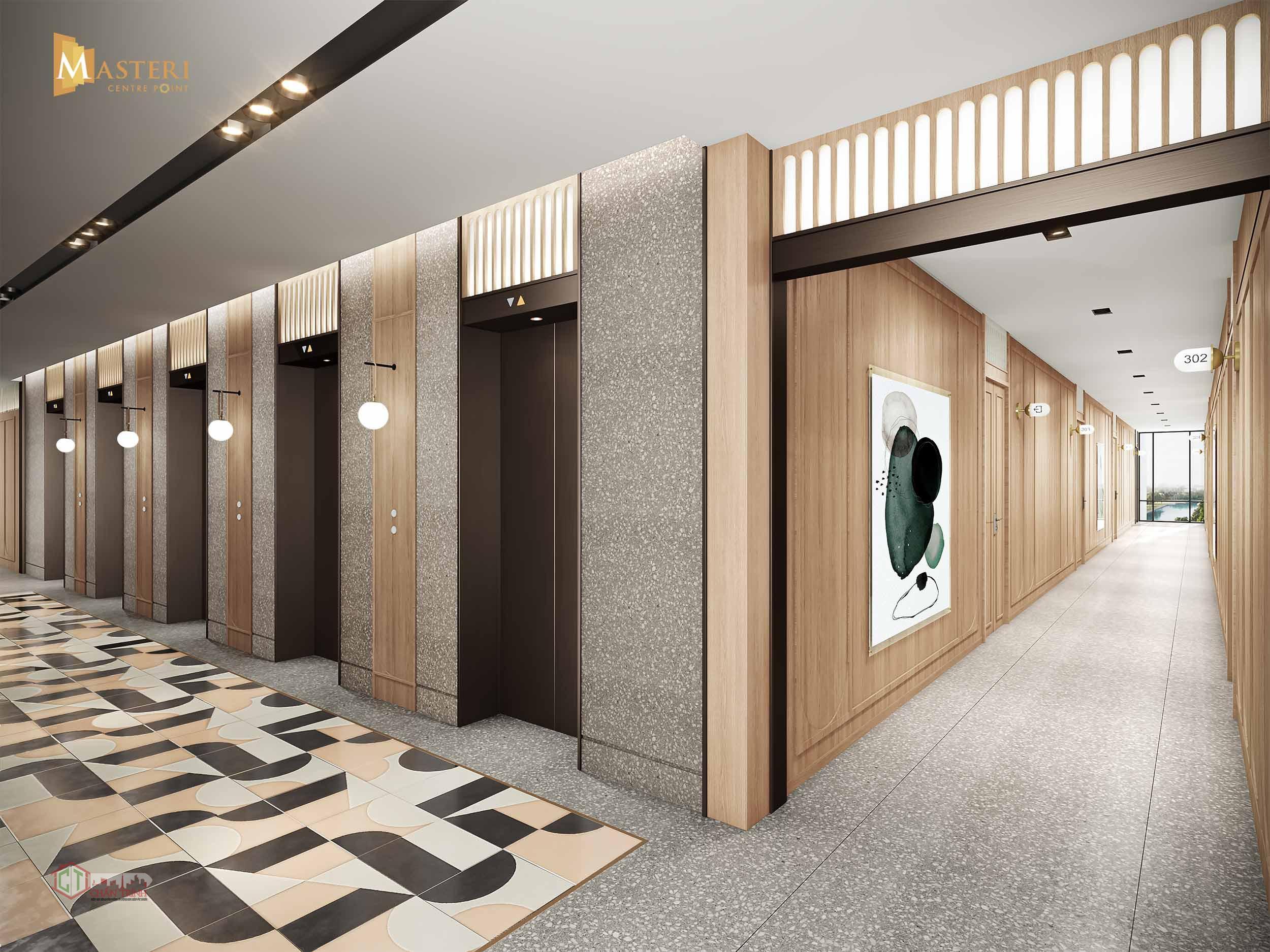 Sảnh hành lang thang máy căn hộ Masteri Quận 9