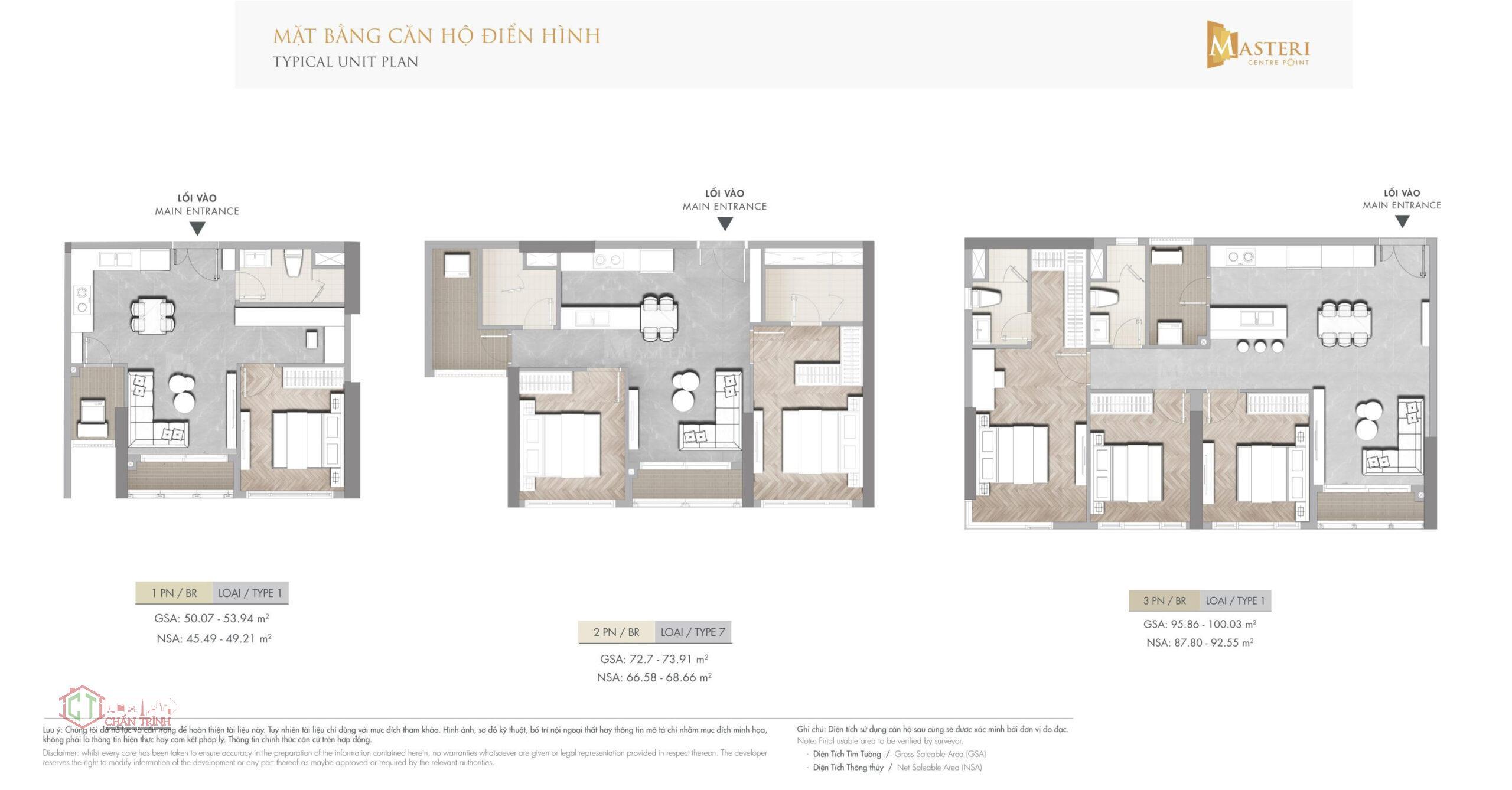 Thiết kế căn hộ 1,2,3 phòng ngủ Masteri Quận 9