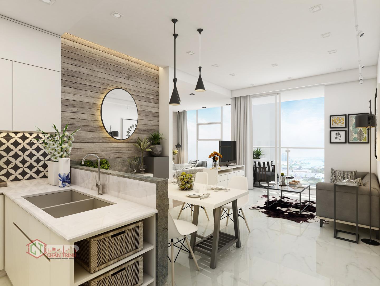 Phòng khách Sunwah Pearl đầy đủ nội thất - Hình 3D