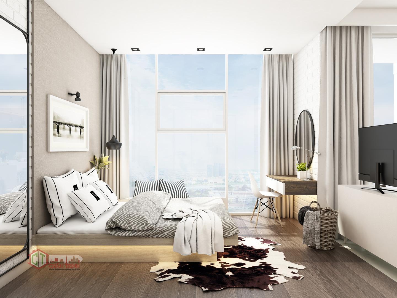Phòng ngủ Sunwah Pearl đầy đủ nội thất - Hình 3D