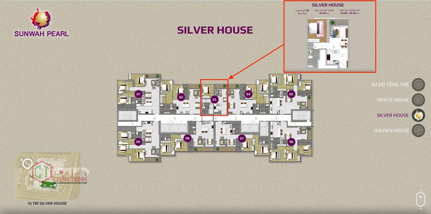 Mặt bằng Silver House căn 1 phòng ngủ duy nhất.